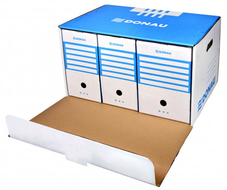 Box for archival boxes Front blue Donau