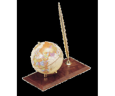 Globe on a wooden stand with handle