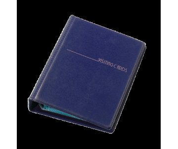 Business card holder 120 cards on the rings vinyl dark blue