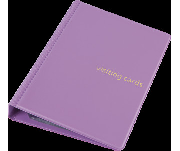 Business card holder 120 cards on rings PVC 130х190 mm pink