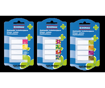 Bookmarks are plastic with adhesive 4 colors 20 sheets 45х12мм, transparent