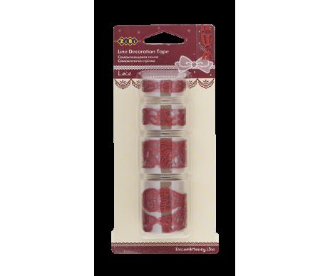 """Стрічка самоклеюча """"Lace Bow"""" 4*50 см червона з блискітками"""