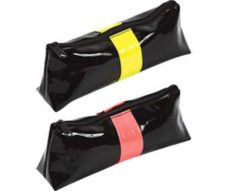 Triangular pencil case 20 x 8.5 x 5 cm, black lacquer faux leather with neon trim