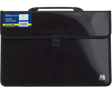 Briefcase 2 compartments F/C fabric black Buromax