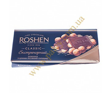 Roshen, extra black chocolate with whole hazel горіхами100г.(Made in Ukraine )