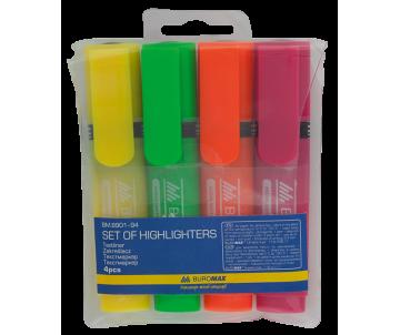 Набір текстмаркерів 4 кольорів Buromax