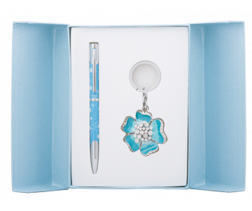 Bloom gift set pen and keychain blue