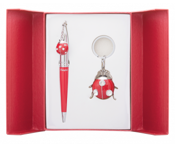 Beetle gift set pen and keychain red