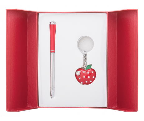 Apple gift set pen and keychain red