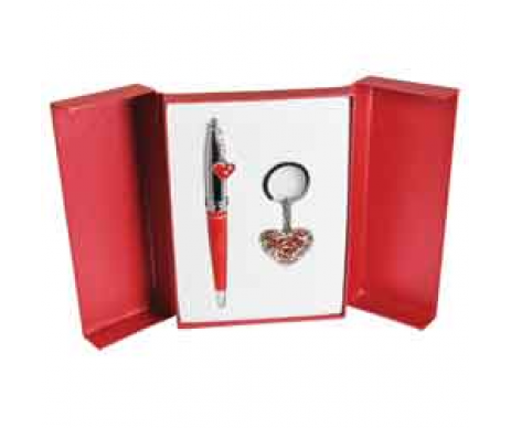 Gift set, Miracle ballpoint pen and key ring red