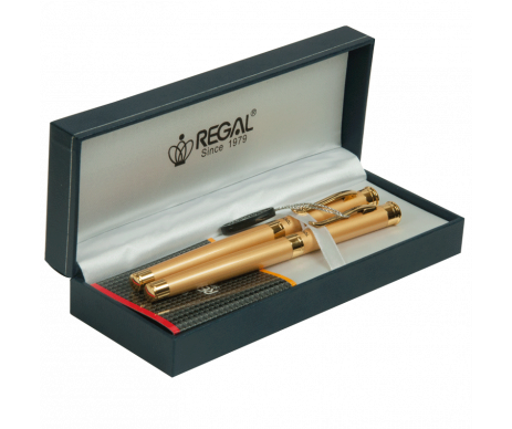 A set of pens and ball pen in gift box L gold REGAL