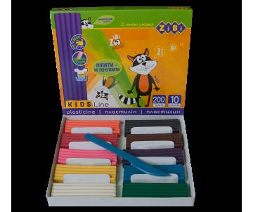 Пластилін 10  кольорів 200 гр, стек KIDS Line ZiBi