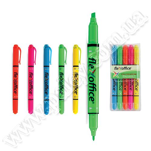Купить Текст-маркер Flex Office FO-HL 01 зелёный двухсторонний