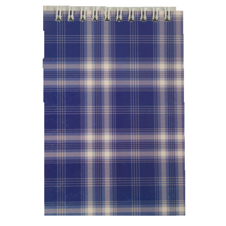 Блокнот на пружині, А6, картонна обкладинка,синій, клітинка, 48 арк. фото