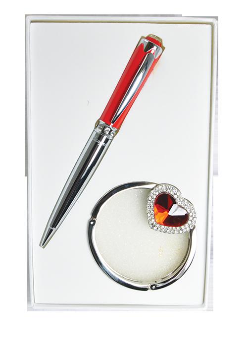 Набір подарунковий Crystal ручка кулькова і гачок для сумки червоний