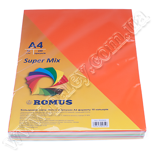 Набір кольорового паперу Mix А4 80 грамів 10 кольорів 250 аркушів